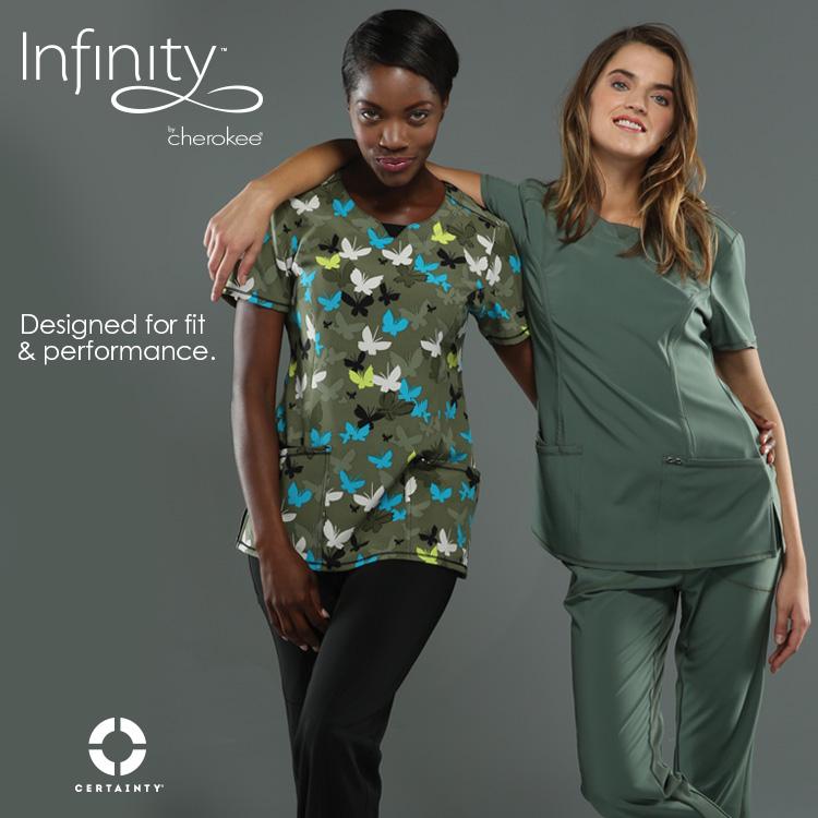 cherokee uniforms infinity collection coming soon banner ad women model apparel uniform